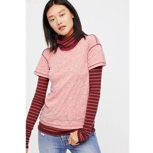 Free People Piper Twofer Turtleneck Layered Tee